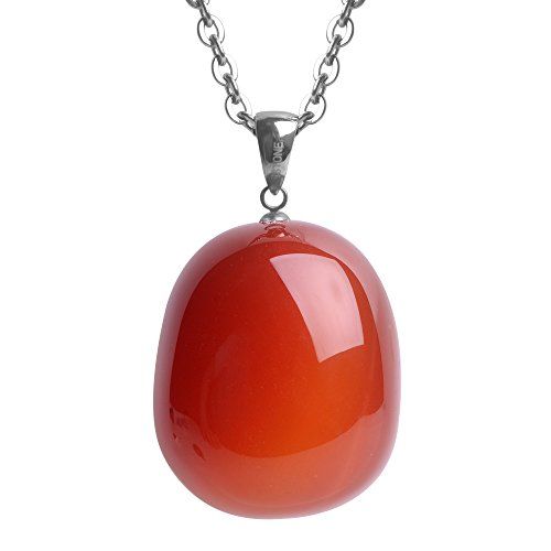 iSTONE Natural Gemstone Red Agate Water Drop Pendant Necklace with Stainless Steel Chain 20 Inch -