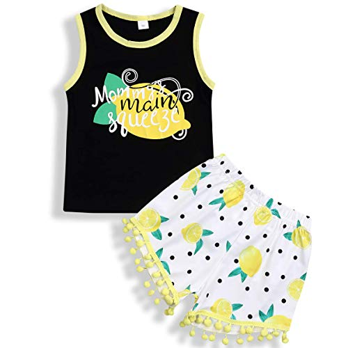 (Baby Girls Summer Clothes Set Sleeveless Vest Tops Tassels Shorts Set (Lemon, 1-2 Years))