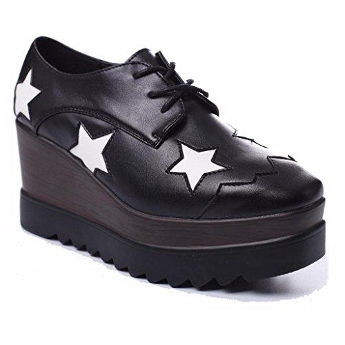 Moonwalker Cuña Puntera Cuadrada Mujer Zapatos de con Cuero Negro2 en Estrellas ftrt8