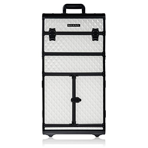 SHANY REBEL Series Pro Makeup Artists Rolling Train Case - Trolley Case - Ghostly White ()