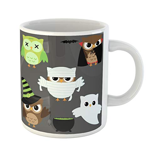 Semtomn Funny Coffee Mug Zombie of Cute Owls in Halloween Costumes Mummy Angry 11 Oz Ceramic Coffee Mugs Tea Cup Best Gift Or Souvenir -