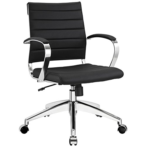 Modway Jive Ribbed Mid Back Executive Office Chair, Black Vinyl