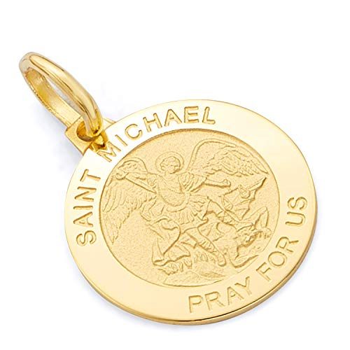 GM Fine Jewelry Collection 14k Yellow or White Gold Religious Saint Michael Medal Charm Pendant