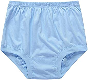 Zueauns Mens Cotton Briefs Soft Loose Underwear Middle-Aged and Elderly Underpants 4 Pack