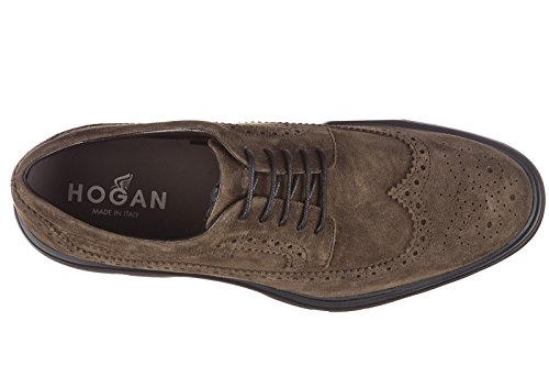 Hogan scarpe stringate classiche uomo in camoscio derby route bucature marrone