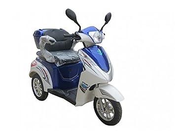 1000 W escooter elektromobil 3 Rueda escooter Senior Vehículo Senior móvil eléctrico Silla Eco Ángel 501, Blanco-Azul: Amazon.es: Deportes y aire libre