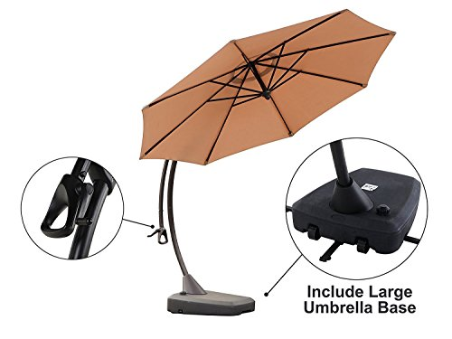 Grand patio Outdoor Aluminum 11.5 Feet Cantilever Umbrella,Offset Hanging Patio Market Umbrella with Large Base for Outdoor,Garden,Beach(Champange)