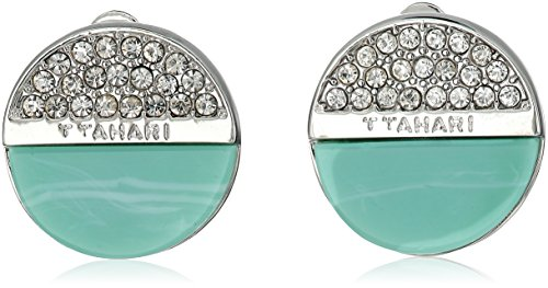 t-tahari-logo-disc-button-clip-on-earrings