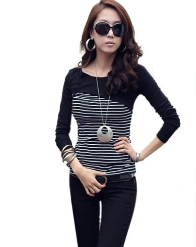 Superbaby Women's Layering Junior's Stripes Long Sleeve Stretchy Panelling Shirt