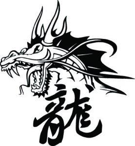 Dragon S Head Con Letras Chinas Vinilo Adhesivo Pegatinas 50cm
