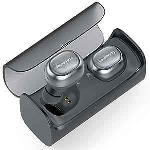 SoundPEATS True Wireless Stereo Bluetooth 4.2 Headphones,Wireless Earbuds Cordless Earphones Sweatproof In-Ear Headset with Mic-Grey