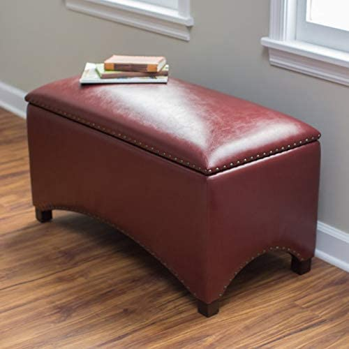 Red Premium Bonded Leather Storage Bench Ottoman Coffee Table Nailhead Accents Contemporary Home Furnishings