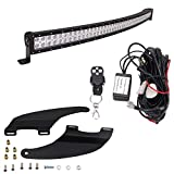 52'' 300w Curved LED Light Bar & Mounting Brackets with Remote Control Wiring Combo Upper Roof Mount Fit for 2009-2018 Dodge Ram 1500,2010-2018 Dodge Ram 2500