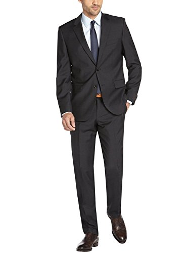 Valentino Designer Suit - Gino Valentino Men's Two Button Side vents Jacket 2 Piece Modern Suit (42 Regular US / 52R EU/W 36