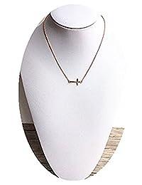 Dot & Line Rose Gold Cross Pendant Necklace