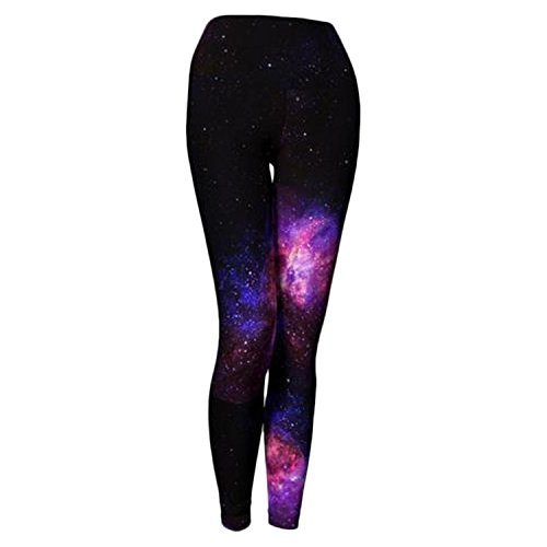 Fold to Fly Printed High Waist Yoga Leggings/Activewear Yoga Pants, Quick-Dry, Performance Knit, Compression Eco-Fabric - Galaxy (Wine) - Large