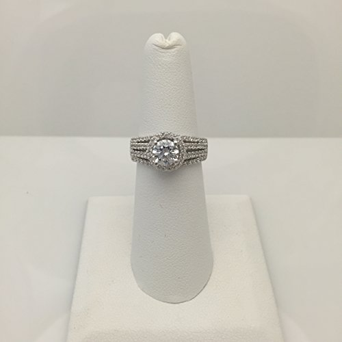 1 Carat CZ Halo Engagement Ring Sterling Silver with Rhodium Plating Quadruple Shank Setting (6mm Cubic Zirconia)