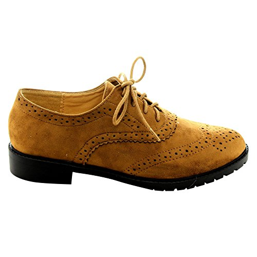 Forever Gd61 Mujeres Lace Up Low Chunky Heel Zapatos Casuales Oxford, Color: Tan, Tamaño: 8.5