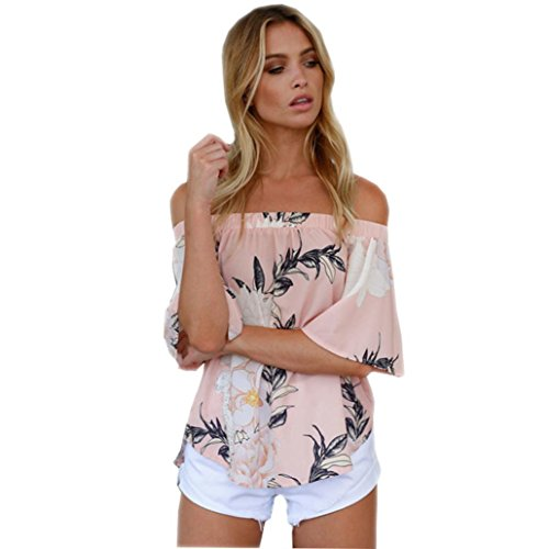FAMILIZO Mujeres De La Manera De Las Camisetas Ocasionales Impresas Florales De La Blusa Del Hombro T-Shirt Camisetas Rosa
