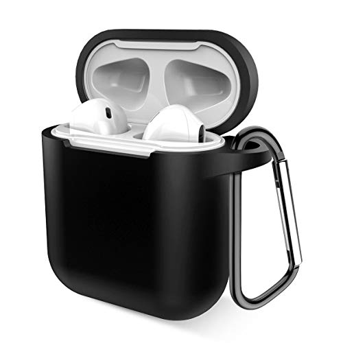 Airpods Case, Music tracker Protective Thicken Airpods Cover Soft Silicone Chargeable Headphone Case with Anti-Lost Carabiner for Apple Airpods 1&2 Charging Case (Black)