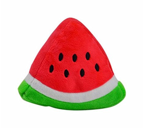 OOEOO Puppy Chew Toy Dog Squeaky Plush Sound Cute Watermelon Plush Design Teething Toys (Triangle, Free Size)