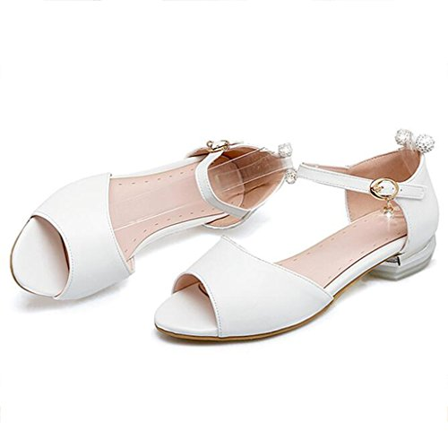 Sandals Summer PU Wrap Heel Female Flat Shoes Student Shoes Women's Shoes White LgHd3CGUeU