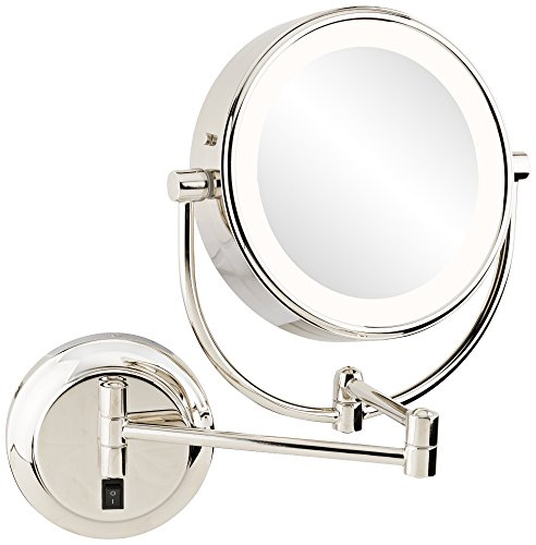 Polished Nickel Finish Mirrors - Kimball and Young 9453585HW Neomodern Dual Sided LED 5X/1X Magnified Makeup Wall Mirror, Polished Nickel Finish