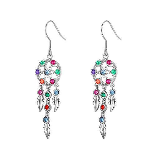(Dream Catcher Drop Earrings 925 Sterling Silver Feather Tassels Dangle Earrings Boho Geometric Cubic Zirconia Hook Earrings for Wife Girlfriend Mum Sister Bridal Jewelry)