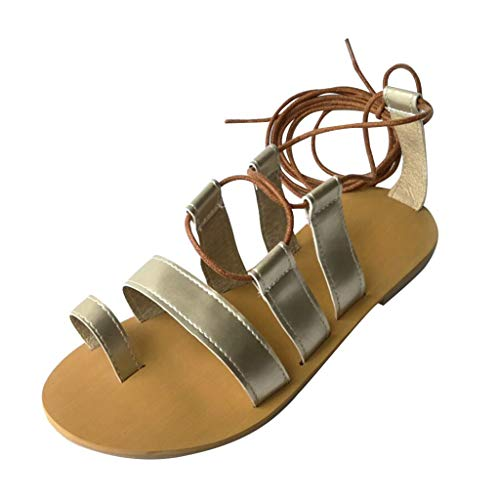 Tantisy ♣↭♣ Womens Gladiator Sandals Flat Flip Flop Cross Strap Shoes Open Toe Fashion Party Wedding Shoes for Women Gold
