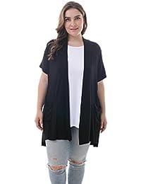 0ab0c8458d Women s Plus Size Short Sleeve Lightweight Soft Printed Drape Cardigan with  Pockets