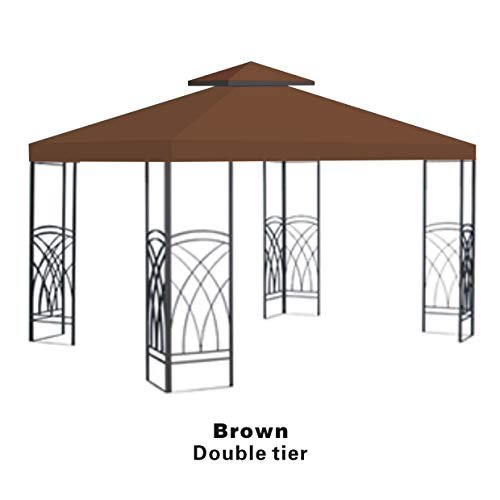 BenefitUSA Brown Double Tier Replacement 10'X10'Gazebo Canopy top Patio Pavilion Cover Sunshade plyester (2 Gazebo Tier)