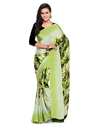 Saree Kalista Pure Printed Green Crepe wSxgCqa