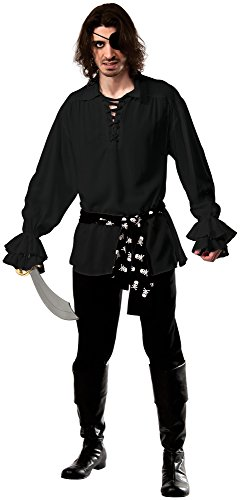 Rubie's Costume Co Men's Cotton Black Pirate Shirt, Black, Standard (Colonial Pirate Costume)