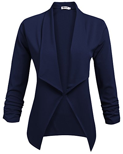 Qearal Womens Solid 3/4 Ruched Sleeve Open Front Draped Lapel Work Office Blazer Jacket (M, - Office Jacket