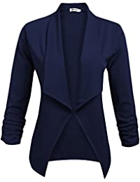 Womens Solid 3/4 Ruched Sleeve Open Front Draped Lapel Work Office Blazer Jacket