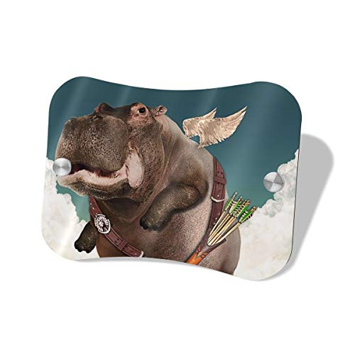 (Scarlett Life Hall Little Angel Hippo Flying MDF Door Sign Decorates Welcome Sauna Mailbox Sign Office Family Individual Store Bedroom Toilet Boys Girls Men)