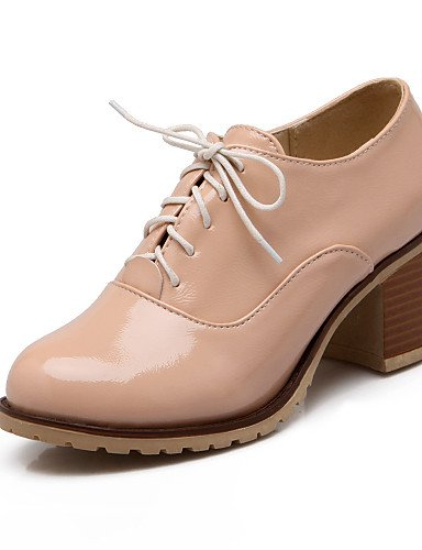 negro De Eu42 Punta Oxfords 5 Y Tacones Tacón Cuero Zapatos Uk8 5 Cn43 Robusto Cerrada Oficina White us10 Zq Casual Mujer Exterior Patentado Trabajo 5qRaYn8