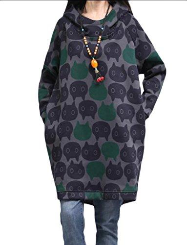 Confortables Femmes Impriment Épaissies Mi Longues Haut Ample Robe Élégante Comme Image
