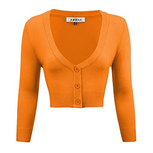 Neck Cropped Cardigan - YEMAK Women's Cropped 3/4 Sleeve Bolero Button Down Cardigan Sweater CO129-LOR-L Light Orange