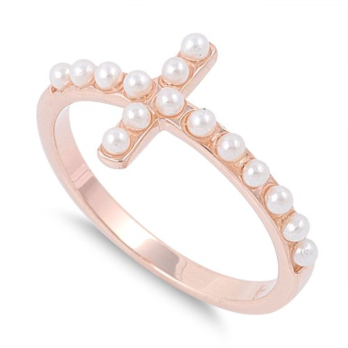 Pearl Silver Plated Cross - CloseoutWarehouse Simulated Pearl of Great Price Sideway Cross Ring Rose Gold-Tone Plated Sterling Silver Size 5