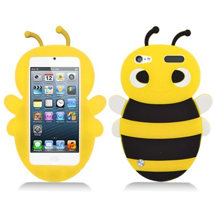 iPod Touch 5th and 6th Generation Case, Soft Rubber Silicone Gel Jelly Cover by MEGATRONIC - Bee/Yellow [With FREE Touch Screen Stylus Pen] (Ipod 5 Jelly Silicone Cases compare prices)