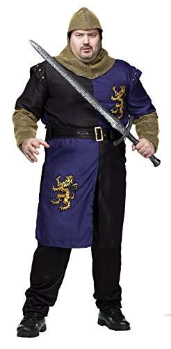UHC Men's Medieval Renaissance Camelot Knight Warrior Outfit Plus Size Costume, Plus
