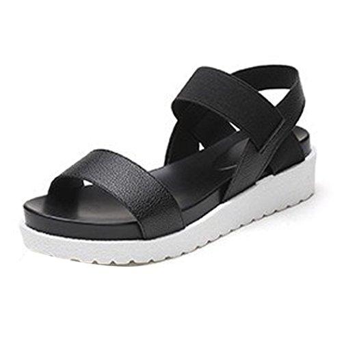 Sandalias de Romanas de Zapatos Negro Verano Playa Chanclas Mujer para QinMM Plano TTnrxwqCd