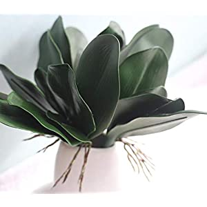UUPP 4 pcs Artificial Shrubs Plants Fake Ferns Artificial Butterfly Orchid Leaves Bush Flowers for Indoor Outside Home Garden Office Decor, 10.8'' 4