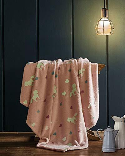 Regal Comfort Candy Reins Luxury Plush Kids Glow in The Dark Hears and Unicorns Throw Blanket 50'' x 60''