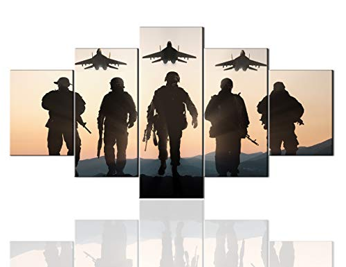 Mens Room Decor 5 Panel Military Canvas Native American Decor Army Troops Silhouettes Painting Pictures Artwork Wall Art Home Decor for Living Room Giclee Wooden Framed Ready to Hang (60
