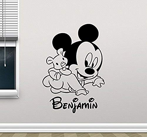 Personalized Mickey Mouse Wall Decal Custom Name Walt Disney Cartoons Vinyl Sticker Baby Girl Boy Customized Personal Kids Room Wall Art Design Bedroom Ideas Nursery Wall Decor Mural 97PS -
