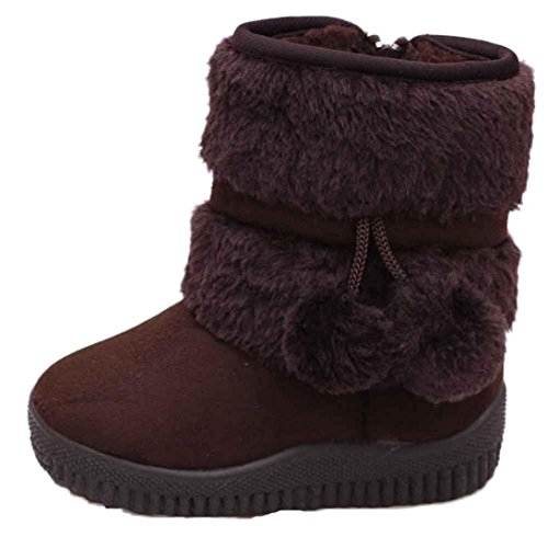 Efaster(TM) Girl Ball Cotton Winter Baby Child Style Cotton Boot Warm Snow Boots (1-2Age, Coffee)