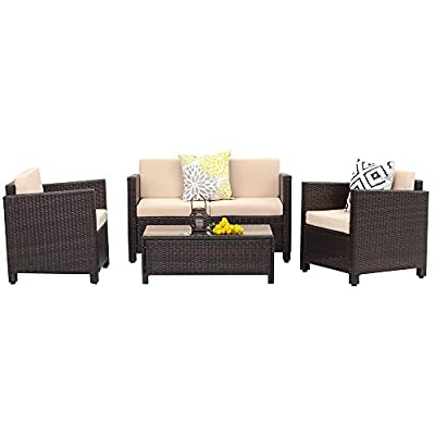 Wisteria Lane Outdoor Patio Furniture Set,5 Piece Conversation Set Wicker Sectional Sofa Loveseat Chair