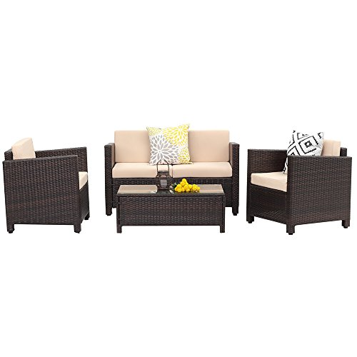 5 Piece Outdoor Patio Furniture Set,Wisteria Lane Garden Rattan Wicker Sofa Cushioned with Coffee Table,Brown (Outside Furniture Set)